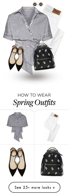 """""""Gingham, White Jeans & Floral Bag"""" by curvygirlamy on Polyvore featuring D&G, Michael Kors, Fendi, Jimmy Choo and Ann Taylor"""