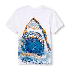 s Boys Short Sleeve Neon Shark Graphic Tee - White T-Shirt - The Children's Place