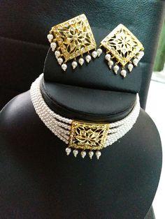 Gold Jewelry Simple, Indian Wedding Jewelry, Mom Jewelry, Fashion Jewelry Necklaces, Stylish Jewelry, Fashion Necklace, India Jewelry, Simple Necklace, Pearl Jewelry