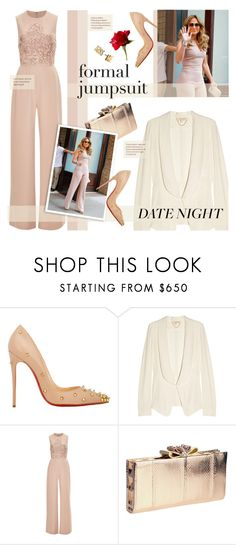 """""""Date Night ~ Formal Jumpsuit Style"""" by aj93 ❤ liked on Polyvore featuring Christian Louboutin, Vanessa Bruno, Elie Saab, Kate Spade and DateNight"""