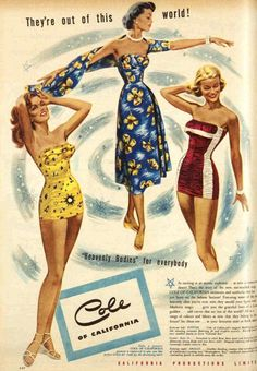 Vintage Advertising Cole of California Swimwear / Bathing Suit Ad, Original Ad Rockabilly Outfits, Rockabilly Fashion, Retro Fashion, Vintage Fashion, Fifties Fashion, Fashion Women, Vintage Advertisements, Vintage Ads, Vintage Style