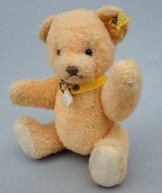 Steiff Petsy Teddy Bear Gold Dralon Plush 24 cm ID button tag 1970 - 73 Vintage