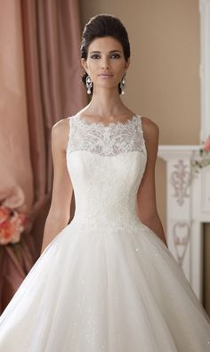 Pretty statement neckline ~ David Tutera for Mon Cheri Spring 2014 Bridal Collection | bellethemagazine.com