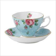 Polka Blue Vintage Teacup / Saucer Royal Albert | Wayfair