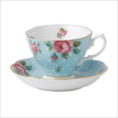 Polka Blue Vintage Teacup / Saucer Royal Albert | Wayfair