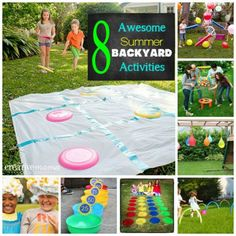 these look SO fun! 8 Awesome Summer Backyard Activities - Fun for the whole family daisy camping or party fun activity. maybe for bridging ceremony at the park Summer Activities, Craft Activities, Family Activities, Summer Games, Fun Games, Games For Kids, Party Games, Projects For Kids, Crafts For Kids