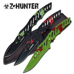 Z-Hunter 3pc 9 in Throwing Knife Set. Z-Hunter 3pc 9 in Throwing Knife Set3pc FULL TANG BIG 9 Throwing Knife set Overall Length: 9 , Blade Length 4-1/4 Solid 440Stainless Steel with 3 different finishes Blades are SharpSheath: Balistic Nylon Sheath,3 pockets, Belt Loop805319121718