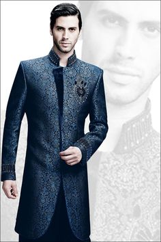midnight blue tailored sherwani.  Add fuchsia  embroidery and scarf to match Tanya.