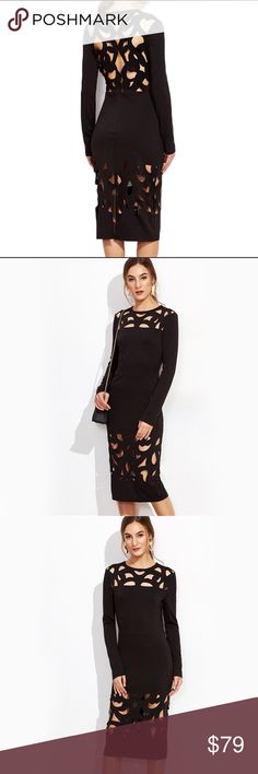 Black bodycon party prom evening dress Available size XS/00-0, S/2-4, M/6-8, L/10-12 Dresses Midi
