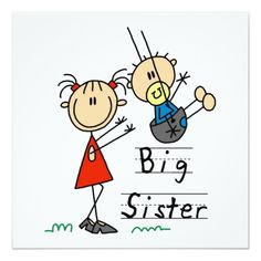 Shop Little Brother with Big Sister Tshirts created by stick_figures. Sister Cards, Stick Figure Drawing, Doodle People, Congratulations Baby, Little Brothers, Cartoon Sketches, Gifts For Brother, Stick Figures, Drawing For Kids
