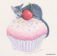 Pink Cup Cake Limited Edition Print  Sue Barratt
