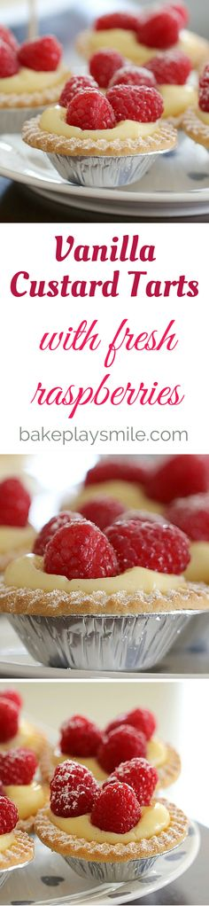 Vanilla custard tarts with fresh raspberries
