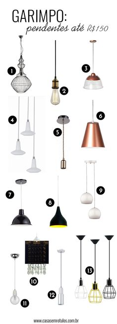 Casa Sem Rótulos, garimpo, pendentes, pendentes baratos, decoração barata, tendência, iluminação, pendente industrial