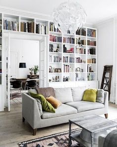 Love the book all and the entire living room aesthetic. madogbolig The post Dreamy modern apartment in Copenhagen appeared first on Daily Dream Decor. interior living room modern Dreamy modern apartment in Copenhagen (Daily Dream Decor) Living Room Interior, Home Living Room, Living Room Decor, Apartment Living, Apartment Office, Apartment Door, Home Library Design, House Design, Library Ideas