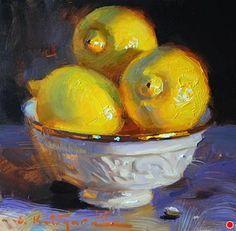 Three Lemons by Elena Katsyura Oil ~ 6 in x 6 in Classic Paintings, Impressionist Art, Still Life Art, Kitchen Art, Lemon Painting, Fruit Painting, Pastel, Still Life Oil Painting, Fine Art Auctions