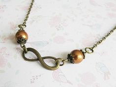 Infinity Necklace, Charm Necklaces, Chokers, Short Pearl Necklace, Gift For Her, Bronze Infinity Jewelry