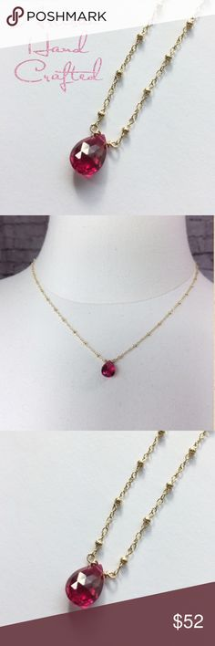 "Sparking faceted pink conundrum teardrop necklace Artisan made bright pink faceted conundrum gem stone on a 14KGF chain. Custom length....sized to order. 16-20"" long. Michelle V Gems Jewelry Necklaces"