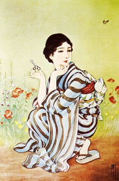 taishou-kun: Takabatake Kasho 高畠華宵 Gogatsu no niwa 五月の庭 (Garden in May) - 1930 Japan Illustration, Japanese Prints, Japanese Art, Art Asiatique, Japanese History, Bonsai Art, Roman Art, High Art, Japanese Painting