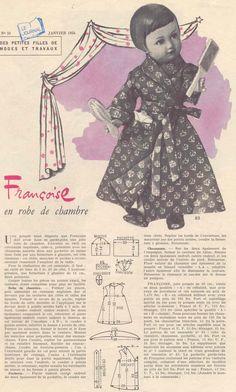 PAR AMOUR DES POUPEES :: M&T 1956 01 robe de chambre et chaussons pour Françoise (couture)