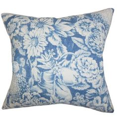 "The Pillow Collection Elspeth Floral Linen Throw Pillow Color: Blue, Size: 22"" x 22"""