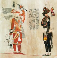 This is an image of a mural from Uaxactun apparently showing a Teotihuacano warrior and a Maya envoy to his right