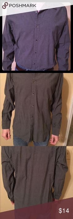"Calvin Klein gray striped button down Lots of life left. 100% cotton. Model is 5'9"" Calvin Klein Shirts Casual Button Down Shirts"