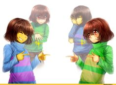 undertale frisk and chara and underswap chara and frisk.