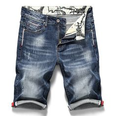 Men's Stretch Short Jeans Fashion Casual Slim Fit High Quality Elastic Denim Shorts Male Brand Clothes - Men's style, accessories, mens fashion trends 2020 Mens Fashion Suits, Fashion Pants, Ripped Shorts, Denim Shorts, Casual Shorts, Denim Leggings, Mens Stretch Shorts, Short En Jean, Short Jeans