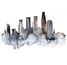 New York abstract ART PRINT 13X19 watercolor painting by PortLove, $45.00