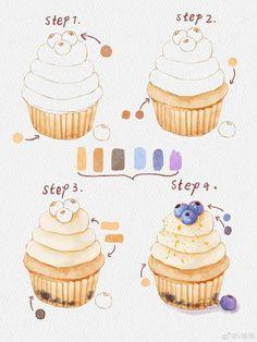 Watercolor Paintings For Beginners, Watercolor Art Lessons, Watercolor Food, Watercolor Flowers Tutorial, Watercolour Tutorials, Cute Food Drawings, Kawaii Drawings, Cute Food Art, Cute Art