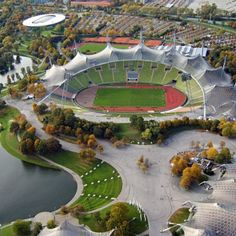 Munich Olympic Stadium: Location: Munich, Germany Year of Construction: 1972 Architects: Frei Otto and Gunther Behnisch This building was the first large scale project to use acrylic glass stabilized by steel cables to create large overhanging canopies.