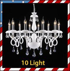 10 Light - White Murano Glass Crystal Ceiling Pendant Lamp Light Chandelier