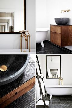 A modern rustic bathroom made with Made a Mano tiles - KOMON NATURA Collection - www.madeamano.it - Rosario Parrinello