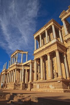ruins of the Roman amphitheater of Merida in Extremadura, Spain