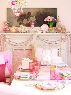 Set to Party -- Romantic roses have a complement in the rosy pink glassware and sparkly tinsel used to decorate this dining room for a feminine, grown-up tea party.