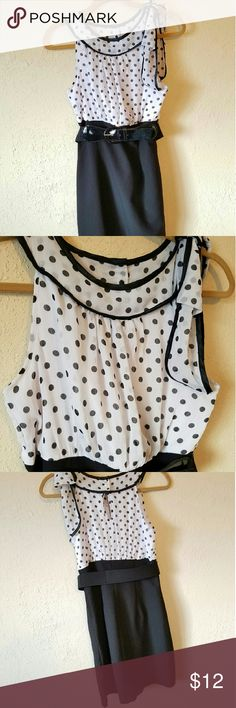 Polka Dot Chiffon Dress with Pencil Skirt Polka Dot top is black and white chiffon with ribbon trim. Bow on left shoulder. Looser top with keyhole back and 3 pearl buttons. Comes with belt and the bottom is stretchy pencil style. All one piece. In great condition! BCX Dresses