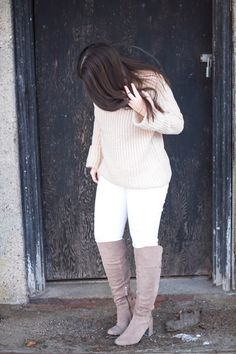 These Franco Sarto over the knee suede boots are perfect! And paired with whites and tans makes for an awesome Spring look. Click the pin to see more details at My Sweet Genevieve.