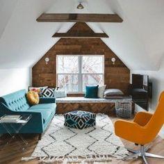 Cool Attic Design Ideas That Looks Cool 26 Living Room Tv, Living Spaces, Attic Design, Interior Design, Interior Architecture, Loft Design, Wood Floor Colors, Romantic Bedroom Decor, Bedroom Ideas