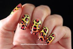 Pink and yellow leopard print nails with tutorial