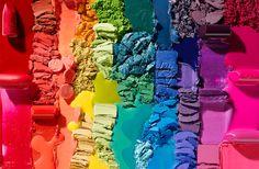 rainbow makeup cosmetic eyeshadow blush lipstick pool blob crumble blush gloss Still Life Product Photographer Makeup Photography, Life Photography, Photography Ideas, Cosmetic Photography, Rainbow Makeup, Still Life Photographers, Over The Rainbow, Colorful Makeup, Belle Photo