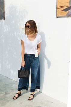 DENIM CULOTTES: love this idea! Scoop neck perfect white tee and denim culottes! Don't live the fading on these but the look overall is perfect!
