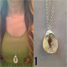 Silver Foil Crystal Geode Necklaces - Choose Your Stone
