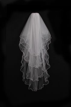 Elegant 4 Layer Cascade Bridal Veil with Pearls