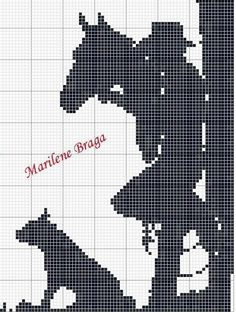 Full Art's Embroidery in Cross Stitch: Graphics Monochrome Cross Stitch Horse, Cross Stitch Animals, Cross Stitch Charts, Cross Stitch Patterns, Crotchet Patterns, Loom Patterns, Cross Stitching, Cross Stitch Embroidery, Cross Stitch Silhouette