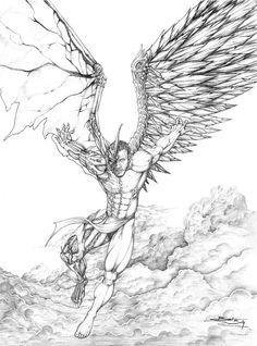 Dark Angel Drawings Sketch Coloring Page Evil Tattoos, Body Art Tattoos, Tattoo Drawings, Sleeve Tattoos, Art Drawings, Dark Angels, Angels And Demons, Fallen Angels, Engel Tattoo