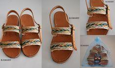 Handmade Leather Greek Sandals Costas Pavlidis, Colourful Braids, Burlap!!! Il Tacco!!!