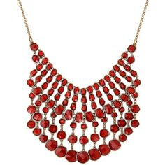 Lucky Brand Caseline Beaded Gem Statement Necklace (€71) ❤ liked on Polyvore featuring jewelry, necklaces, red, beaded statement necklace, red statement necklace, beading jewelry, beaded jewelry and bib statement necklace