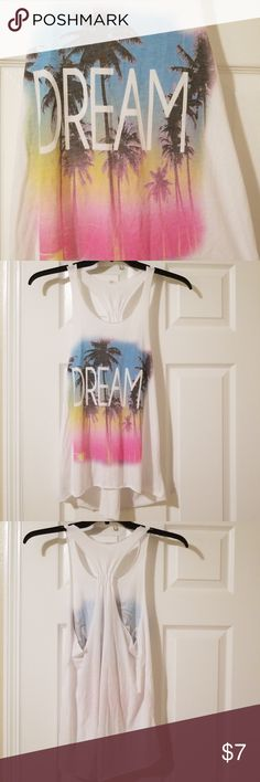 """Tropical """"DREAM"""" Racerback Tank Top 🌞 Worn a handful of times (to the beach) 🌞 Cotton & Spandex blend 🌞 Size Medium 🌞 Cut the tag out because it was itchy 🌞 Has been washed  🌺 I'm having an epic closet clear out sale. Come make bundles and/or make offers on items. Lowballs & reasonable offers are both welcome. Come take advantage of my desperation. Everything must go. None Tops Tank Tops"""