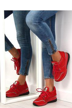 Fashion e-Shop Παπούτσια Αθλητικά φλατ παπούτσια με ασημί λεπτομέρειες -  Κόκκινο - 70382678a75