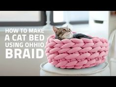 The 7 Best Arm Knitting Tutorial Videos - How to Knit Chunky Blankets, Sweaters, and Scarves Tap the link for an awesome selection cat and kitten products for your feline companion! Easy Crochet Blanket, Chunky Blanket, Crochet Pillow, Chunky Yarn, Knitted Blankets, Diy Crochet Cat Bed, Crochet Cats, Chunky Crochet, Crochet Animals